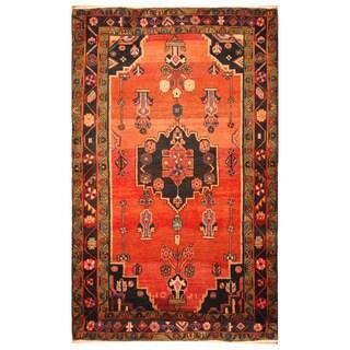 Handmade Herat Oriental Persian Hand-Knotted Semi-Antique Tribal Hamadan 1960's Wool Rug (4'2 x 7'2)