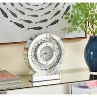 Sparkle 10.5 in. Contemporary Crystal Round Table clock in Clear