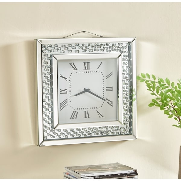 Contemporary Crystal Square Wall Clock In Clear