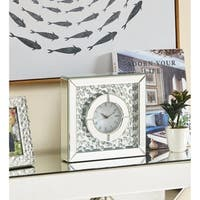 Sparkle 10 in. Contemporary Crystal Square Table clock in Clear