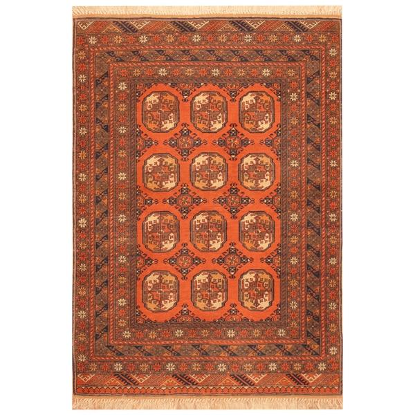 Handmade Herat Oriental Afghan Hand-Knotted Tribal Turkoman Wool Rug - 3'6 x 5'7 (Afghanistan)