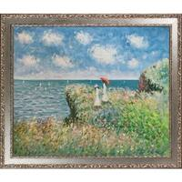Claude Monet 'Cliff Walk At Pourville' Hand Painted Oil Reproduction