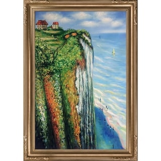 "La Pastiche by overstockArt Cliff at Dieppe by Claude Monet with Florentine Frame, 43"" x 31"""