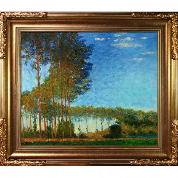 Claude Monet 'Poplars on the Banks of the River Epte, Seen from the Marsh' Hand Painted Oil Reproduction