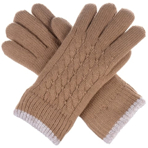 Women Cable Ultra Warm Soft Plush Faux Fur Fleece Lined Knit Gloves