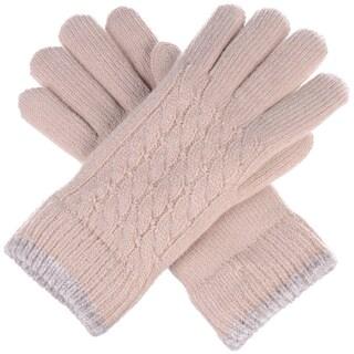 Women Cable Ultra Warm Soft Plush Faux Fur Fleece Lined Knit Gloves