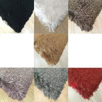 2Tone Color Plush Shag Rugs with 3-Inch Thickness Hand Tufted - 5' x 7'