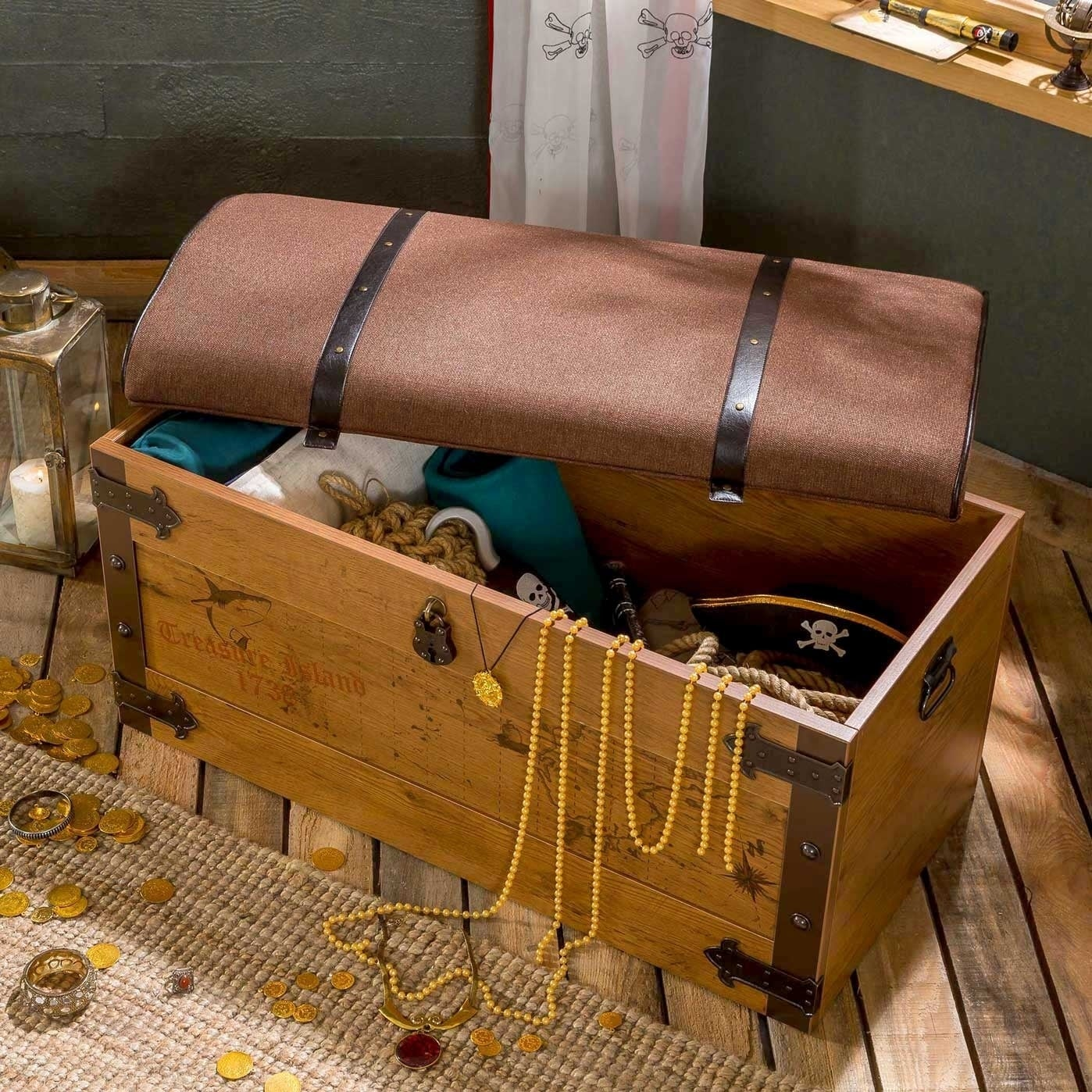 Cilek Pirate Toy Storage Bench With Cushion Overstock 19419731