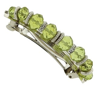 1928 Jewelry Silver Tone Green Bead with Crystal Hair Barrette