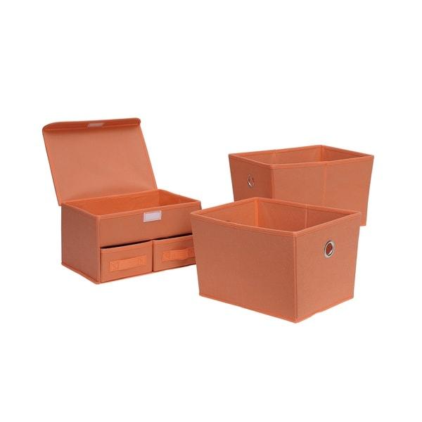 Foldable Mulit- Drawer Org./Tote 3-Pc (Salmon)