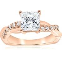 Bliss 14K Rose Gold 1 1/6ct Princess Cut Diamond Clarity Enhanced Infinity Engagement Ring - White