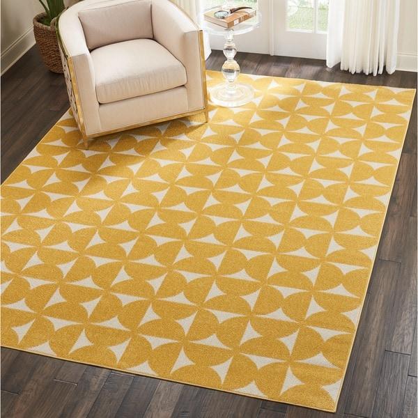 Nourison Harper Yellow Geometric Area Rug 8 X27