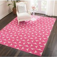 Nourison Harper Pink Geometric Area Rug (8' x 10')
