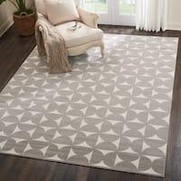 Nourison Harper Grey/ White Geometric Area Rug - 8' x 10'