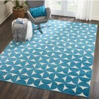Nourison Harper Blue/ White Geometric Area Rug - 8' x 10'