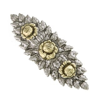 1928 Jewelry Two Tone Floral Hair Barrette