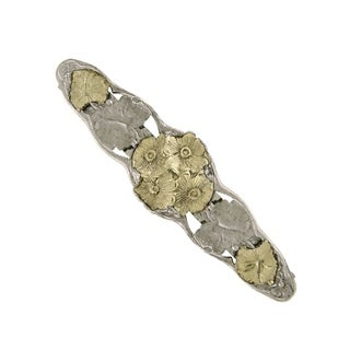 1928 Jewelry Silver Tone and Gold Tone Flower Hair Barrette