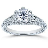 Annello by Kobelli 14k White Gold 1 1/6ct TDW Diamond 6-Prong Antique Engagement Ring
