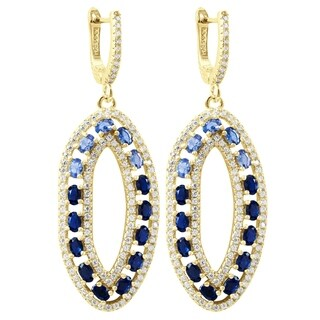 Luxiro Sterling Silver Gold Finish Lab-created Spinel with Cubic Zirconia Open Oval Women's Earrings - Blue
