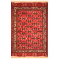 Handmade Herat Oriental Afghan Hand-Knotted Semi-Antique Tribal Turkoman 1960's Wool Rug (Afghanistan) - 4'2 x 6'8
