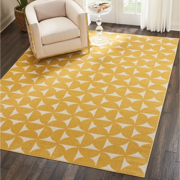 Nourison Harper Yellow Geometric Area Rug 5 X27