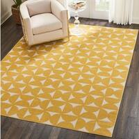 Nourison Harper Yellow Geometric Area Rug (5'3 x 7'3)