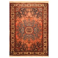 Handmade Herat Oriental Persian Hand-Knotted Semi-Antique Tribal Malayer 1960's Wool Rug (4'6 x 6'5)