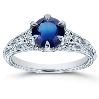 Link to Annello by Kobelli 14k White Gold 1 1/6ct TGW Sapphire and Diamond 6-Prong Antique Engagement Ring Similar Items in Rings