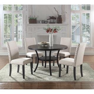 Best Master Furniture 5 Pieces Round Antique Black Dinette Set
