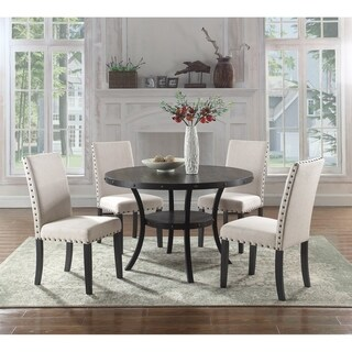 Best Master Furniture 5 Pieces Round Antique Black Dinette Set