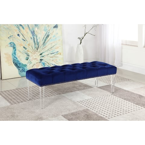 Best Master Furniture Velvet and Acrylic Accent Bench