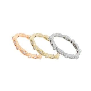 18 Karat Tri Color Diamond Bands Set with 0.90 Carat of TDW - White