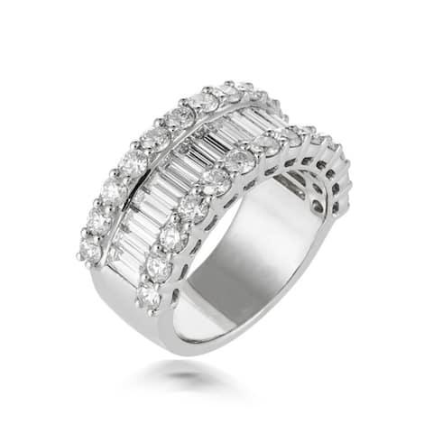 White Gold Diamond Wedding Band features 3.50 Carat of Diamonds