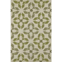 Addison Venice Geometric Floral Clover/Ivory Hand-hooked Indoor-Outdoor Area Rug - 5' x 7'6