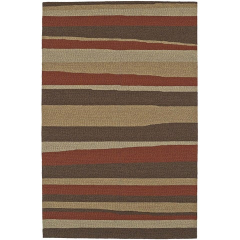 Addison Venice Brown/ Gold Indoor/ Outdoor Modern Stripe Area Rug