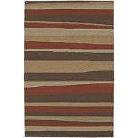 Addison Venice Brown/ Gold Indoor/ Outdoor Modern Stripe Area Rug - 5' x 7'6