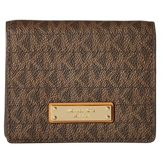Michael Kors Jet Set Signature Brown Flap Card Holder