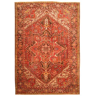 Handmade Herat Oriental Persian Hand-knotted Tribal 1920s Antique Heriz Wool Rug (8'6 x 12')