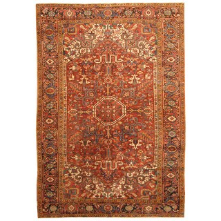 Handmade Herat Oriental Persian Hand-knotted Tribal 1910s Antique Heriz Wool Rug (7'5 x 10'9) - 7'5 x 10'9