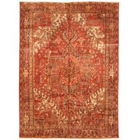Handmade Herat Oriental Persian Hand-knotted Tribal 1940s Antique Heriz Wool Rug (8' x 10'10) - 8' x 10'10