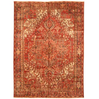 Handmade Herat Oriental Persian Hand-knotted Tribal 1940s Antique Heriz Wool Rug (8' x 10'10)