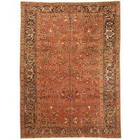 Handmade Herat Oriental Persian Hand-knotted Tribal 1940s Antique Heriz Wool Rug (7'7 x 10'4) - 7'7 x 10'4