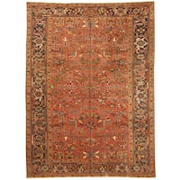 Handmade Herat Oriental Persian Hand-knotted Tribal 1940s Antique Heriz Wool Rug (7'7 x 10'4)