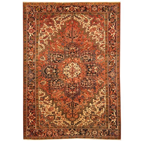 Handmade Herat Oriental Persian Hand-knotted Tribal 1940s Antique Heriz Wool Rug (Iran) - 8' x 11'4