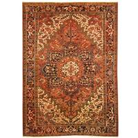 Handmade Herat Oriental Persian Hand-knotted Tribal 1940s Antique Heriz Wool Rug - 8' x 11'4 (Iran)