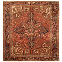 Handmade Herat Oriental Persian Hand-knotted Tribal 1940s Antique Heriz Wool Rug - 8'2 x 8'5