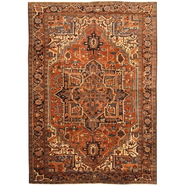 Handmade Herat Oriental Persian Hand-knotted Tribal 1930s Antique Heriz Wool Rug (7'7 x 10'10) - 7'7 x 10'10