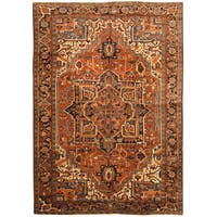 Handmade Herat Oriental Persian Hand-knotted Tribal 1930s Antique Heriz Wool Rug - 7'7 x 10'10