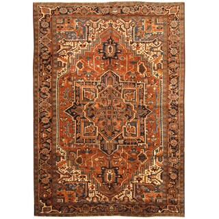 Handmade Herat Oriental Persian Hand-knotted Tribal 1930s Antique Heriz Wool Rug (Iran) - 7'7 x 10'10