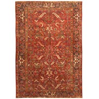 Handmade Herat Oriental Persian Hand-knotted Tribal 1940s Antique Heriz Wool Rug (7'7 x 11'2)